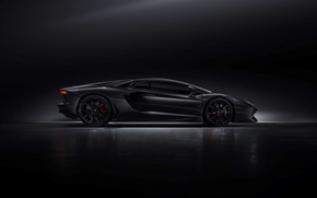 Wallpaper Lamborghini, Black, Aventador, LP700-4, Work, Dark, Side, Supercar