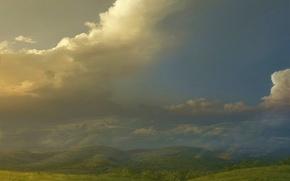 Wallpaper clouds, Hills