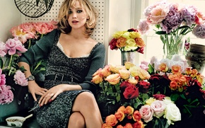 Picture girl, flowers, sweetheart, actress, blonde, Jennifer Lawrence, Jennifer Lawrence