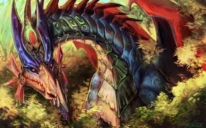 Picture dragon, horns, color, fantastic. art, look. color