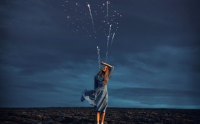 Picture girl, dress, fireworks, arable land, Rosie Hardy