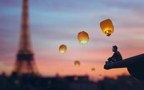 Picture the city, Paris, tower, hat, male, lanterns, Vincent Bourilhon