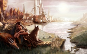 Picture animals, trees, mountains, bridge, the city, Girl, pond