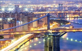 Picture night, the city, lights, New York, excerpt, USA, bridges, Manhattan, New York, Brooklyn