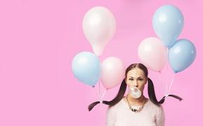 Wallpaper chewing gum, balls, girl, Bubble girl