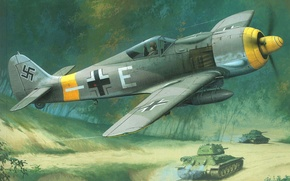Picture the sky, earth, figure, fighter, tanks, German, Focke Wulf, The great Patriotic war, Fw190