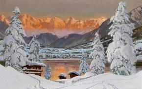 Wallpaper Alps, houses, .Simna, snow, mountains, ice, fog, gold, tree, Alois Arnegger, landscape, sunset