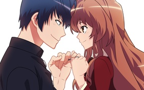 Picture look, girl, ring, pair, fingers, guy, Aisaka Taiga, Toradora, Takasu Ryūji