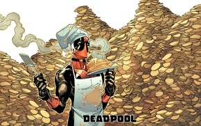 Picture holiday, pancakes, Deadpool, Marvel, Deadpool, Wade Wilson, Marvel, Carnival, Wade Wilson, Maslenitsa