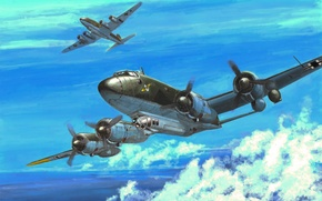 Picture war, art, painting, ww2, avaition, Focke-Wulf Fw 200C-3 Condor