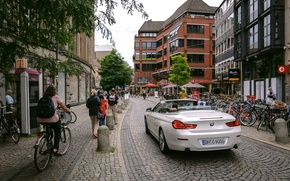 Picture car, green, bmw, wallpaper, red, windows, glass, wall, house, white, black, road, sky, bike, Germany, …