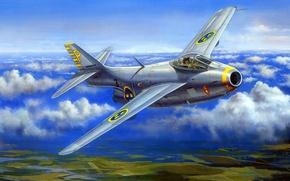 Picture figure, art, The Saab 29 Fighter, Swedish air force, Swedish jet fighter