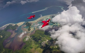 Picture sea, clouds, island, parachute, container, shadows, helmet, camera, pilots, extreme sports, formation, wingsuit