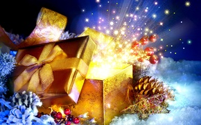 Picture snow, box, gift, New Year, Christmas, Christmas, New Year, decoration
