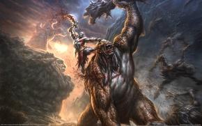Picture battle, rage, hero, monsters, God of war, Cyclops