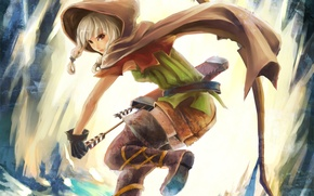 Picture girl, bow, hood, cloak, arrows, quiver, dragon`s crown
