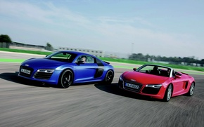 Wallpaper Audi R8, Blue, V10, Spyder, Red, Audi R8 V10
