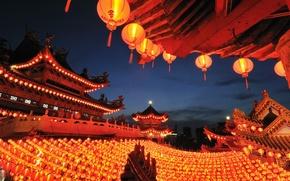 Picture paper, lanterns, Kuala Lumpur, Malaysia, Thean Hou Temple