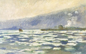 Wallpaper Claude Monet, picture, ship, mountains, spring, landscape, The debacle at Port Vale