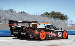 Picture background, McLaren, GTR, supercar, spoiler, the car, rear view, tribune, wing, racing, McLaren, Longtail, 1997