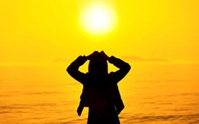 Picture sea, summer, girl, the sun, sunset, nature, pose, background, stay, widescreen, Wallpaper, mood, silhouette, wallpaper, …