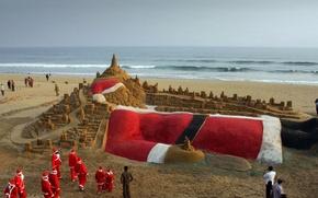 Picture India, Christmas, Santa Claus, Puri, a sand sculpture, Golden beach