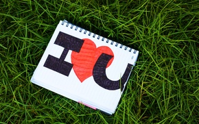 Picture grass, love, the inscription, heart, Notepad