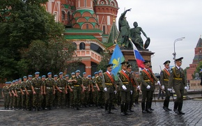 Picture holiday, St. Basil's Cathedral, parade, Red square, troops, Marines, THE ARMED FORCES, monument to Minin …