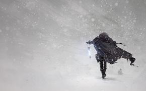 Wallpaper weapons, cloak, snow, art, winter, Blizzard, art, flashlight, Blizzard, hero, Blizzard