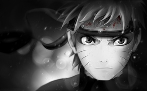 Wallpaper look, symbol, character, black and white, Naruto, Naruto, blood, headband