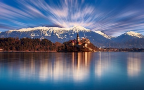 Picture forest, the sky, clouds, trees, mountains, lake, shore, day, Church, temple, Slovenia, Bled
