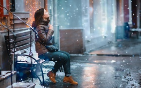 Picture snow, bench, Girl, girl, snow, bench