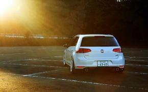Picture volkswagen, white, wheels, golf