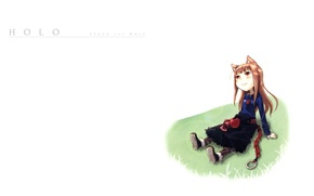 Picture smile, Apple, white background, braid, sitting, ears, Spice and wolf, art, Holo, Spice and wolf, …