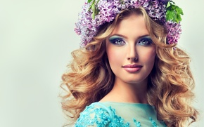 Picture girl, flowers, style, background, blue outfit, playful look, lilac wreath