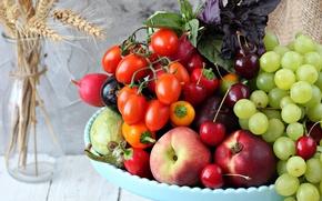 Picture grapes, eggplant, pepper, fruit, vegetables, tomatoes, cherry, nectarine, radishes, zucchini, Basil