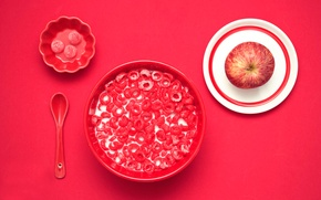 Picture Apple, Cup, cereal, red breakfast