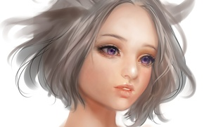 Picture eyes, girl, face, anime, art, neck, airspace