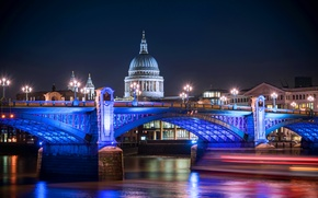 Picture night, lights, England, London, night, London, England, thames, st pauls cathedral, Unni