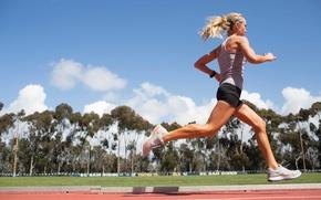 Wallpaper woman, workout, running, athletics