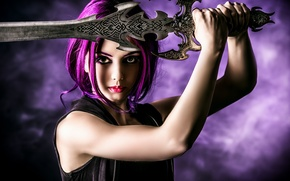 Picture look, girl, weapons, background, sword, makeup, piercing, bright hair