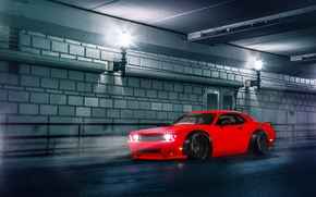 Picture Dodge, Challenger, Red, Car, Body, Front, Street, SRT, Stance, Wide