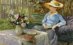 Picture flowers, table, bouquet, picture, vase, genre, Marseille Dif, sitting on the bench, Young woman