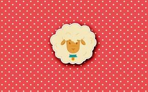 Picture minimalism, animals, sheep, Milota, polka dot