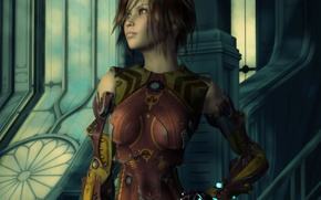 Picture look, girl, face, pose, rendering, fiction, hair, iron, armor