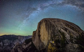 Picture the sky, stars, mountains, night, rocks, CA, USA, the milky way, Yosemite National Park