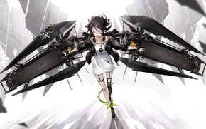 Picture girl, wings, art, chain, headphones, yucca-612, anime