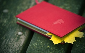 Picture RED, LEAF, SHEET, AUTUMN, PAGE, BOOK.NOTEBOOK