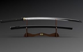 Picture black, Sword, Weapons, Katana