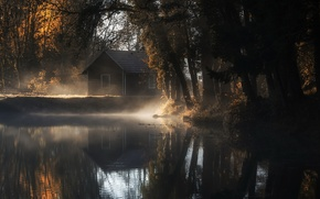 Picture autumn, fog, house, pond, morning